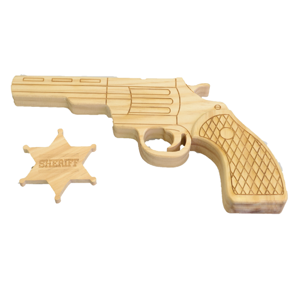 Pistolet et étoile de sheriff en bois