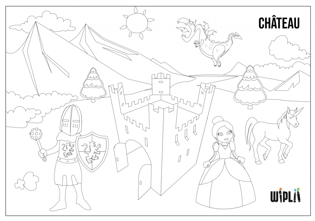 Coloriage Chateau Fort Chevaliers Et Princesses A Telecharger Sur Wipliiwiplii